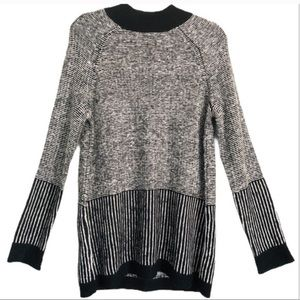 Olive & Oak Mock Neck Black White Sweater M